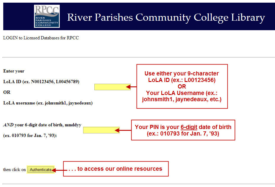 RPCC Library services off-campus database login screen